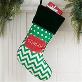 Preppy Chic Personalized Green Christmas Stocking - 17445-G