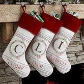 Holiday Wreath Personalized Christmas Stocking - 17446