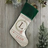 Holiday Wreath Monogrammed Green Christmas Stocking - 17446-G