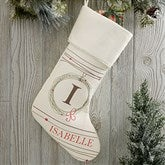 Holiday Wreath Monogrammed Ivory Christmas Stocking - 17446-I