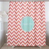 Preppy Chic Personalized Shower Curtain - 17450
