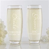 Bridal Couple Personalized Stemless Champagne Flute Set - 17468