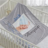 Darling Baby Boy Personalized Fleece Photo Blanket - 17470