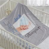 Darling Baby Boy Personalized Fleece Photo Blanket - 17470