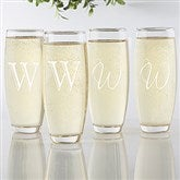 Initial Impressions Personalized Stemless Champagne Flute Set of 4 - 17471
