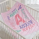 Repeating Name Personalized Fleece Baby Blanket - 17474
