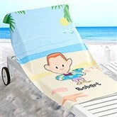 Summer Family Characters Personalized Beach Towel - 17490