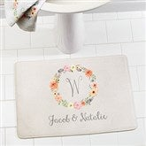 Floral Wreath Personalized Memory Foam Bath Mat - 17506