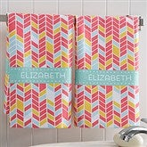 Geometric Personalized Hand Towel 2pc Set - 17525