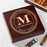Gentleman's Seal Personalized Cherry Wood Cigar Humidor 20 Count - 17535