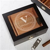 Gentleman's Seal Premium Black Personalized Cigar Humidor 50 Count - 17536