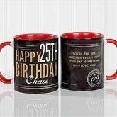 Vintage Birthday Personalized Coffee Mug- 11 oz.- Red - 17555-R
