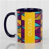 Geometric Personalized Coffee Mug 11 oz.- Blue - 17560-BL