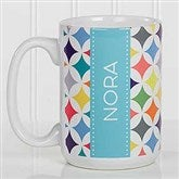 Geometric Personalized Coffee Mug 15oz.- White - 17560-L