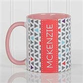 Geometric Personalized Coffee Mug 11 oz.- Pink - 17560-P