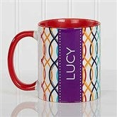 Geometric Personalized Coffee Mug 11 oz.- Red - 17560-R