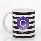 Modern Stripe Personalized Coffee Mug 11 oz.- White - 17561-S