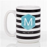 Modern Stripe Personalized Coffee Mug 15oz.- White - 17561-L