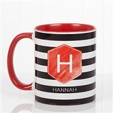Modern Stripe  Personalized Coffee Mug- 11 oz.- Red - 17561-R