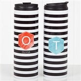 Modern Stripe Personalized Travel Tumbler - 17563