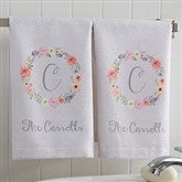 Floral Wreath Personalized Hand Towel - 17574