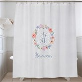 Floral Wreath Personalized Shower Curtain - 17589