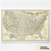 Romantic Travels National Geographic® US Personalized Canvas Map - 17657-U