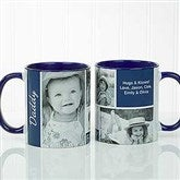 Family Love Photo Collage Personalized Coffee Mug 11 oz.- Blue - 17665-BL