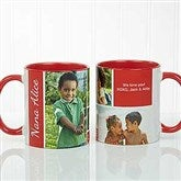 Family Love Photo Collage Personalized Coffee Mug 11 oz.- Red - 17665-R