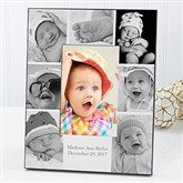 Printed Photo Collage Personalized Baby Picture Frame- Vertical - 17678-V