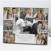 Printed Photo Collage Personalized Wedding Picture Frame- Horizontal - 17679-H