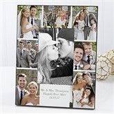 Printed Photo Collage Personalized Wedding Picture Frame- Vertical - 17679-V