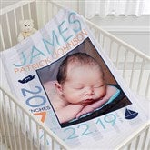 Sweet Baby Boy Personalized Fleece Blanket-Photo - 17681-P