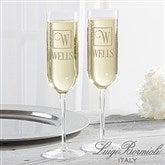 Luigi Bormioli® Square Monogram Personalized Modern Champagne Flute Set - 17702