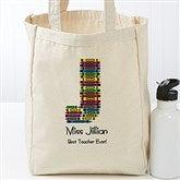 Crayon Letter Personalized Teacher Petite Tote Bag - 17720