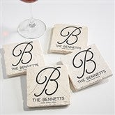 Initial Accent Personalized Tumbled Stone Coaster Set - 17785