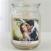 Our Wedding Photo Personalized Scented Glass Candle - 17799