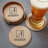 Square Monogram Personalized Leatherette Coaster Set - 17815