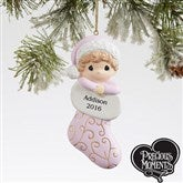Baby Girl Stocking Precious Moments® Personalized Ornament - 17819
