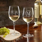 Classic Celebrations Personalized 12oz. White Wine Glass- Monogram - 17830-WM