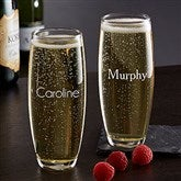 Classic Celebrations Stemless Champagne Glass- Name - 17832-N
