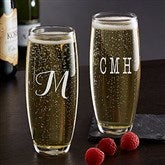 Classic Celebrations Stemless Champagne Glass- Monogram - 17832-M
