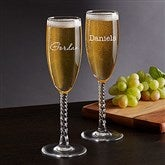 Classic Celebrations Champagne Twisted Stem Glass- Name - 17832-SN