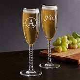 Classic Celebrations Champagne Twisted Stem Glass- Monogram - 17832-SM
