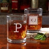 Classic Celebrations Engraved Old Fashioned Whiskey Glass - Monogram - 17834-M