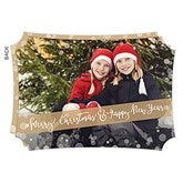 Golden Holidays Personalized Photo Cards - Horizontal - 17836-H