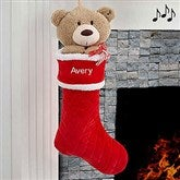 3D Musical Teddy Bear Personalized Stocking - 17845-TB