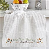 Count Your Blessings Personalized Weave Towel- Set of 2 - 17849