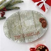 No Place Like Home Personalized Glass Platter - 17852