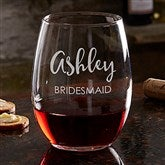 Bridal Party Engraved Stemless Wine Glass 21oz. - 17863-S